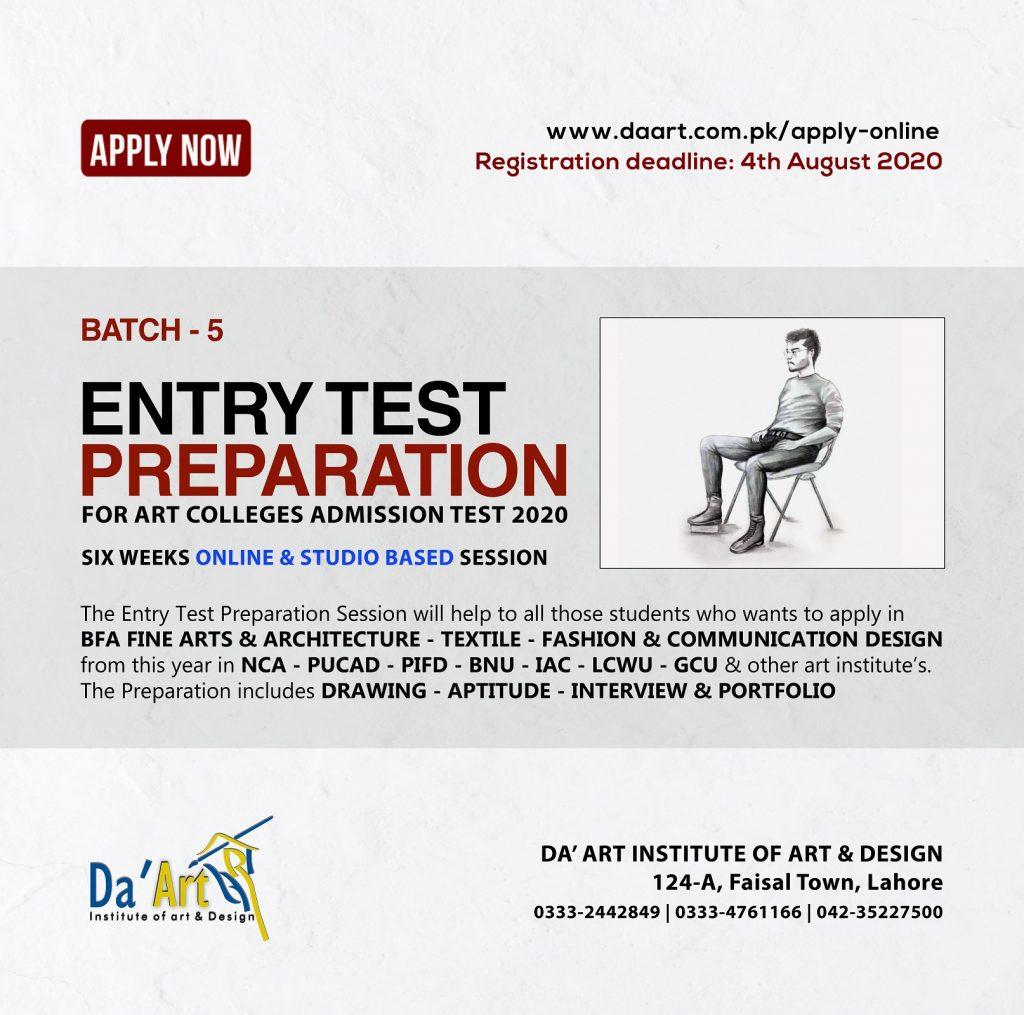 Entry Test Preparation Da Art Institute Of Art And Design